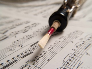 Macro shot of a double reed attached to an oboe lying on top of sheet music.
